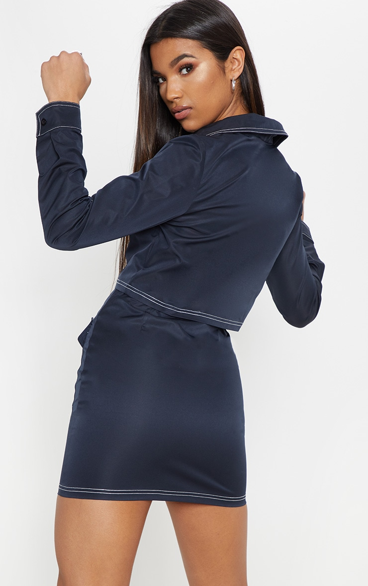 Navy Contrast Stitch Crop Jacket 2