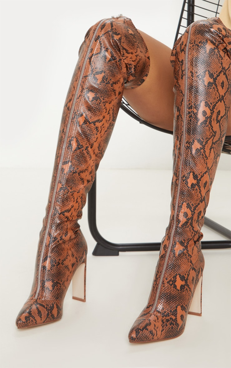 Brown Snake Zip Front Flat Heel Knee Boot 2