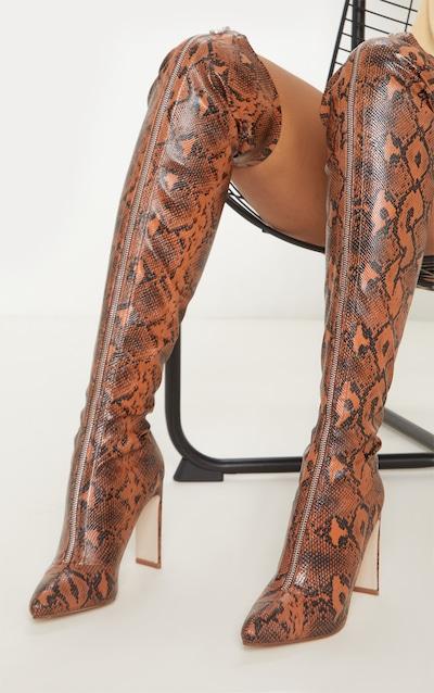 Brown Snake Zip Front Flat Heel Knee Boot