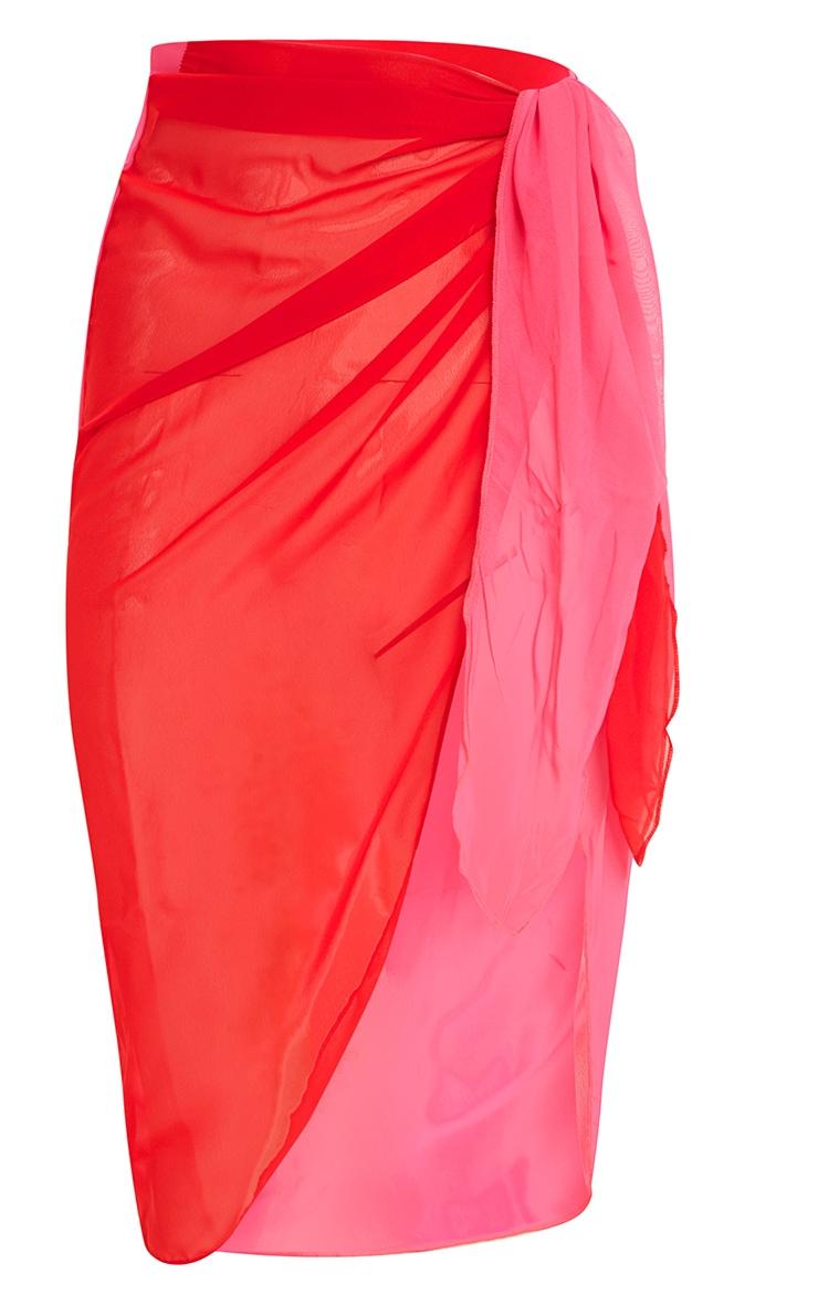 Pink Contrast Knot Sarong 3