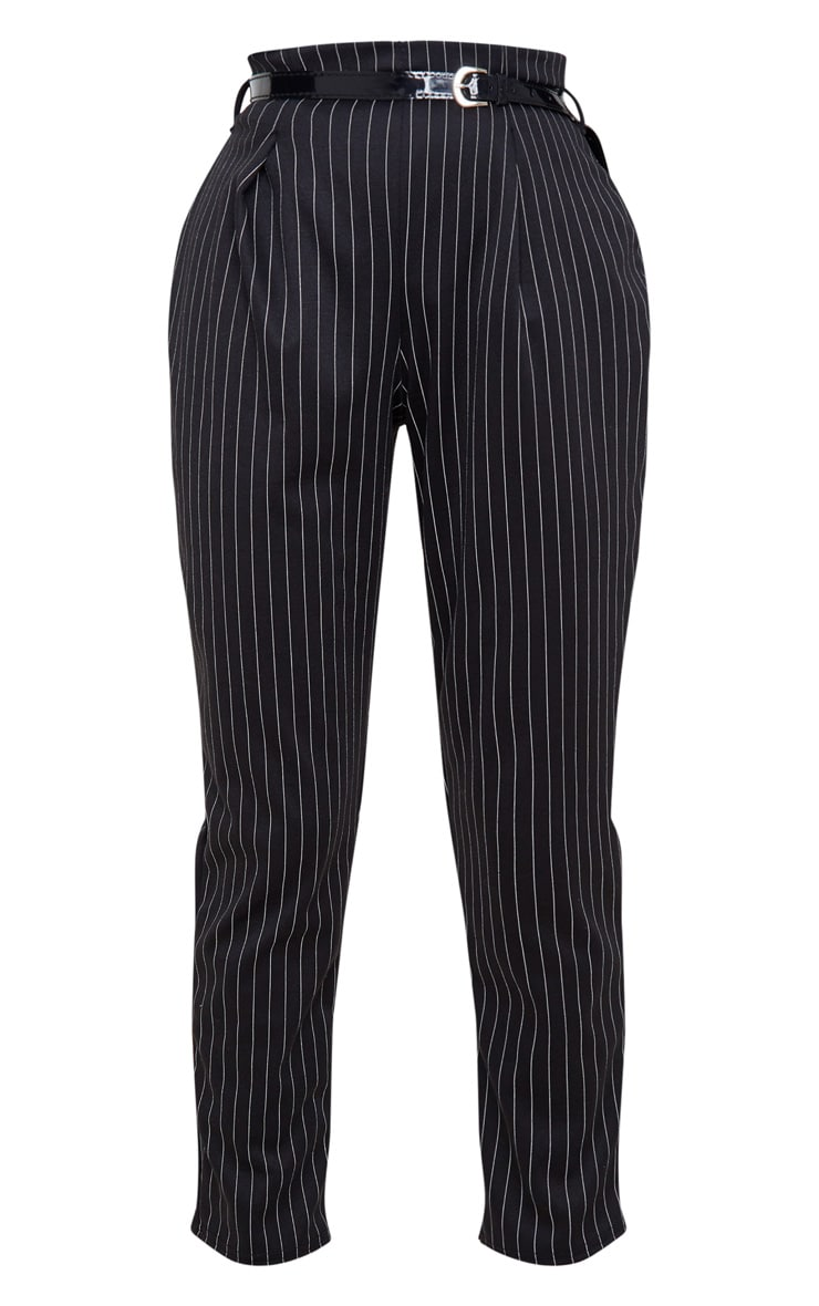 Black Pinstripe Belted Skinny Trousers 3