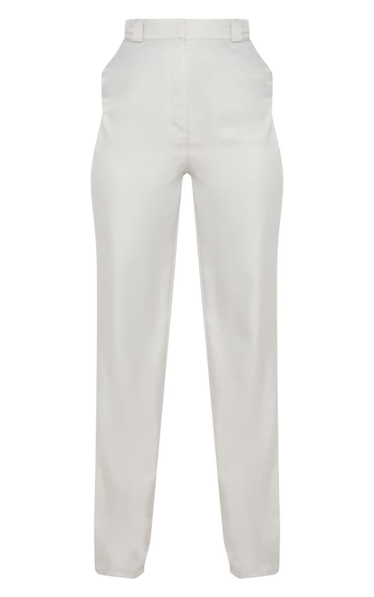 Light Grey Straight Leg Woven Pants 3