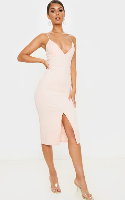 Blush Strappy Plunge Midi Dress