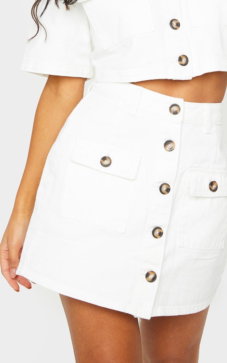 White Button Up Pocket Detail Denim Mini Skirt 4