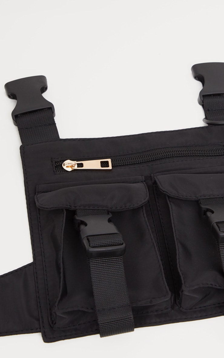 Black Nylon Double Pocket Front Harness Bag 2