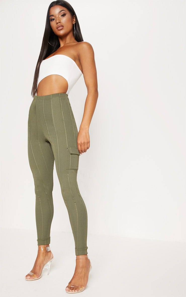 Khaki Bandage Pocket Detail Skinny Trouser 1