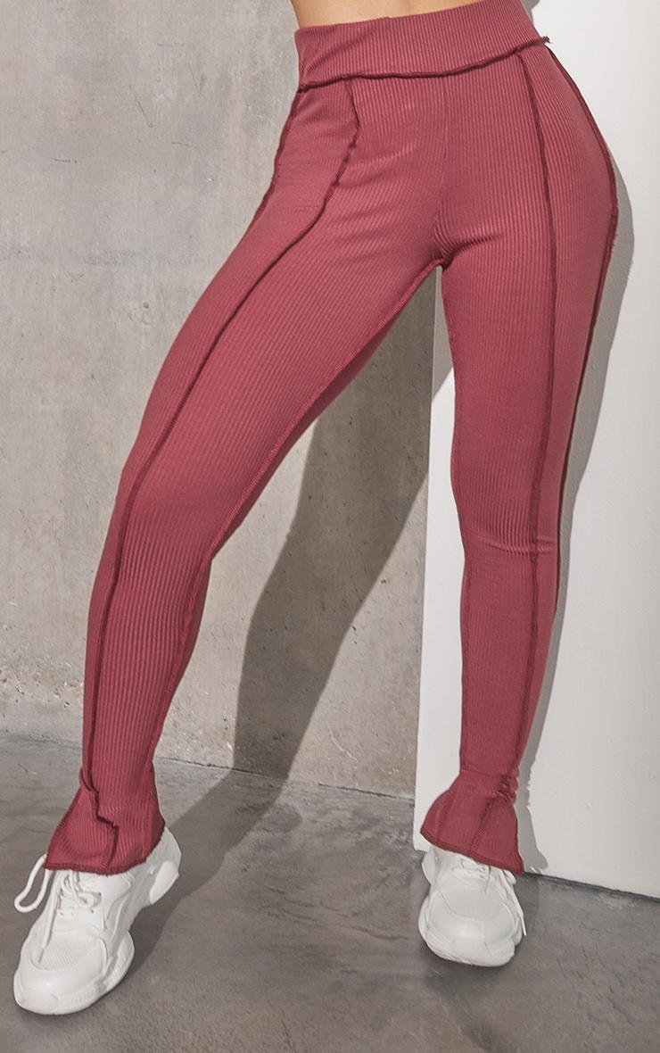 RENEW Washed Red Split Hem Seam Detail Leggings 2