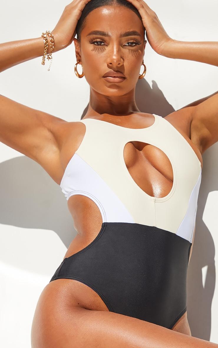 Black Extreme Cut Out Colour Block Swimsuit 4