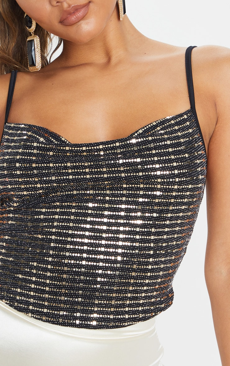 Gold Sequin Cowl Neck Crop Top 5