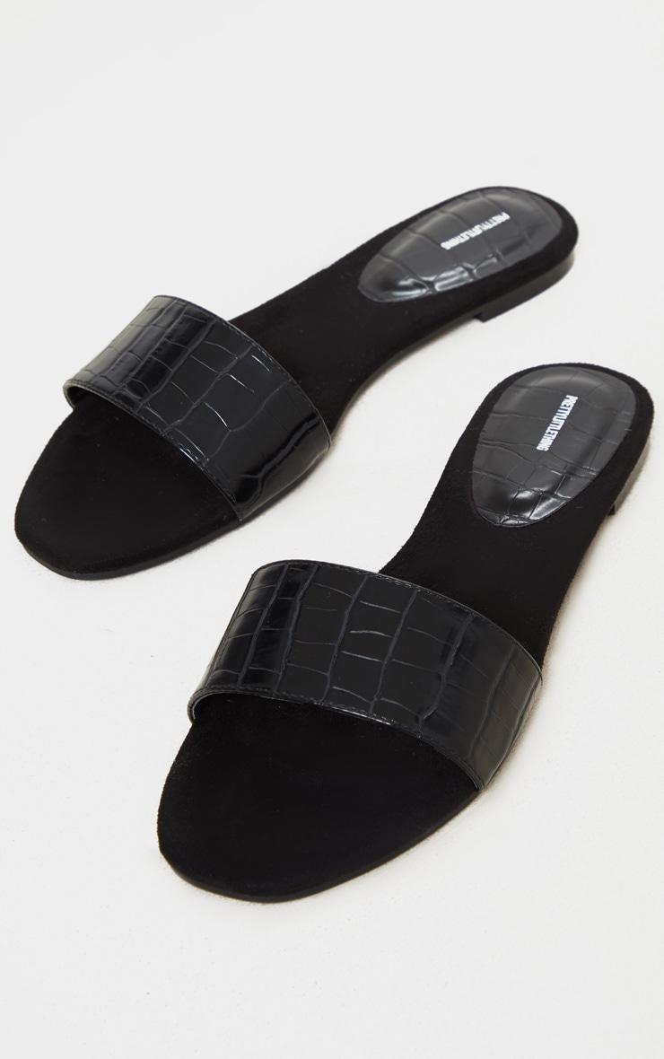 Black Single Strap Mule Sandals 3
