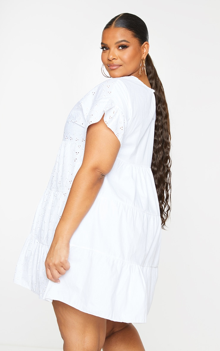 Plus White Broderie Anglaise Smock Dress 3
