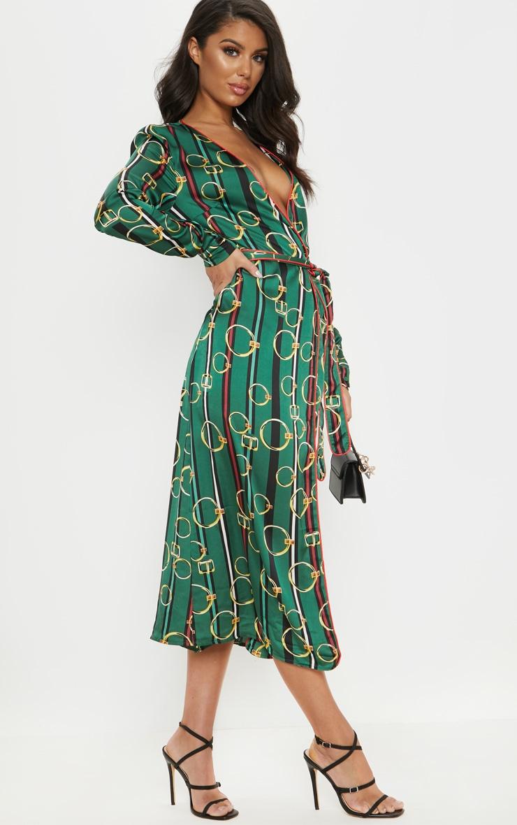 Robe mi-longue verte plissée à imprimé chaîne & ceinture 4