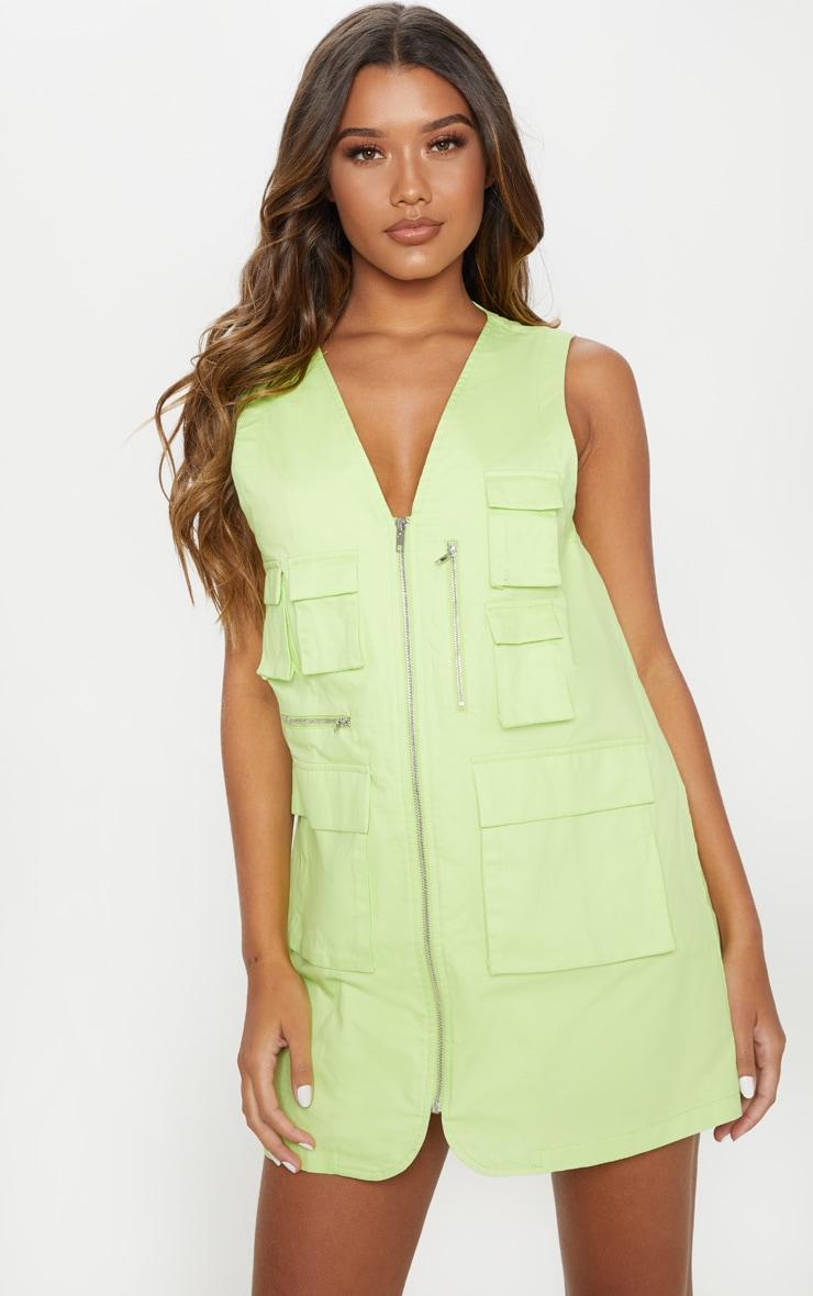 Lime Neon Cargo Zip Front Pocket Shift Dress 1