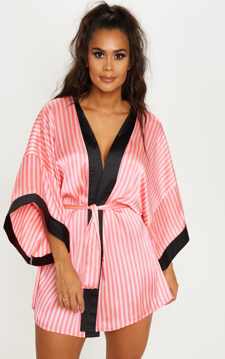 PRETTYLITTLETHING Pink Striped Satin Robe  2