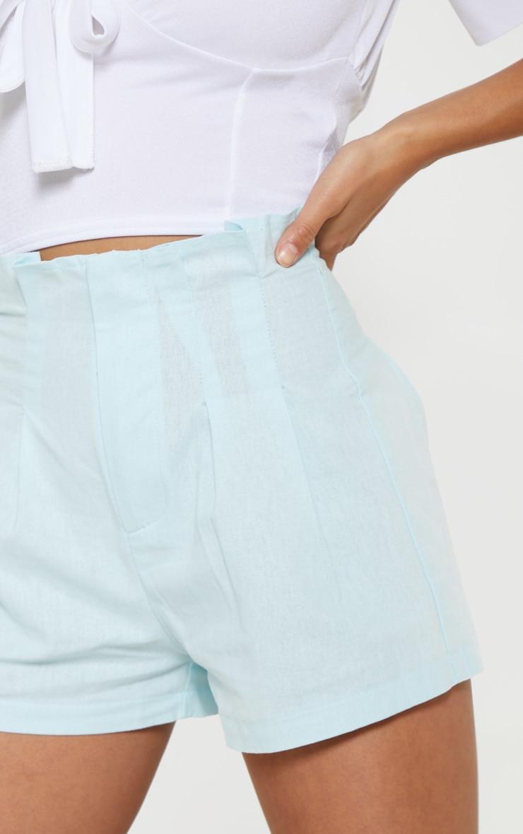 Petite Dusty Blue Dart Detail High Waist Shorts 5