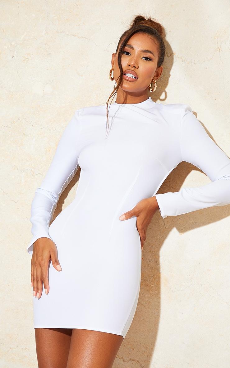 White Woven High Neck Long Sleeve Open Back Detail Bodycon Dress 2