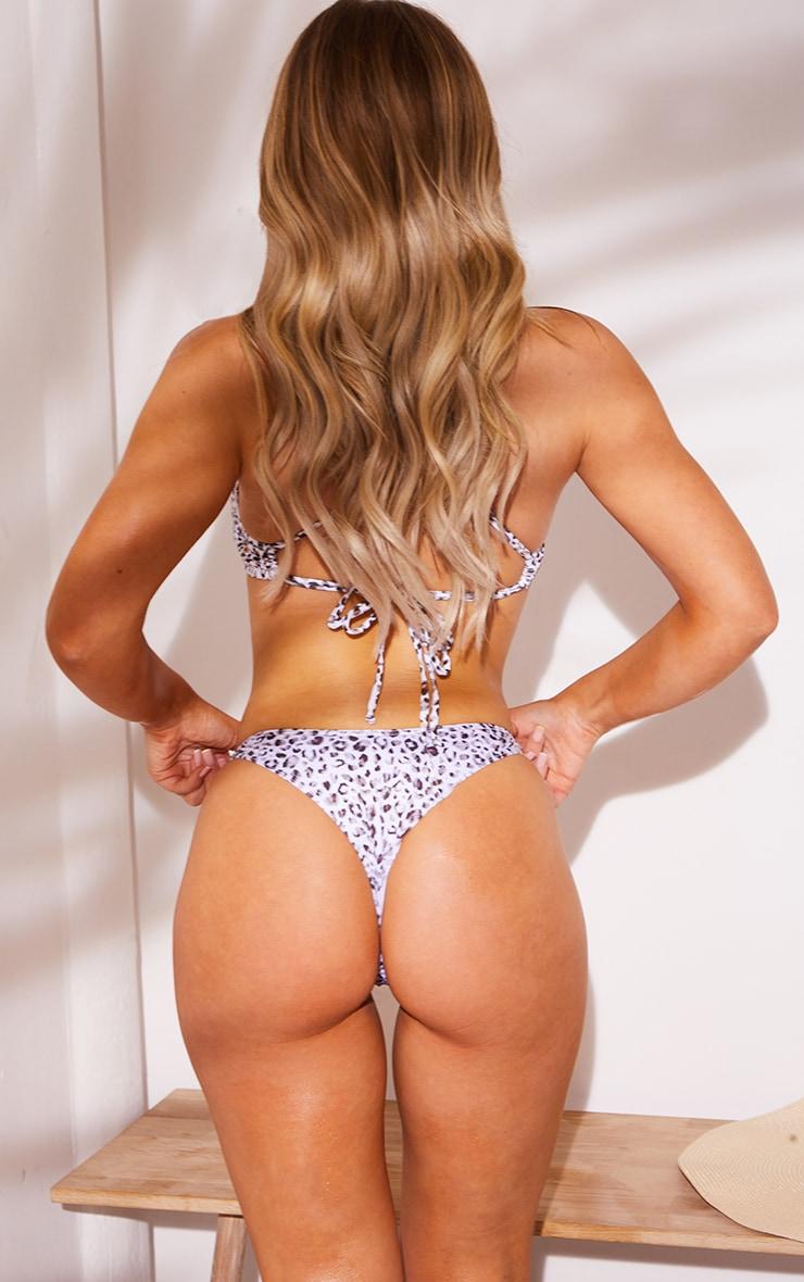 White Leopard V Front Thong Bikini Bottoms 2