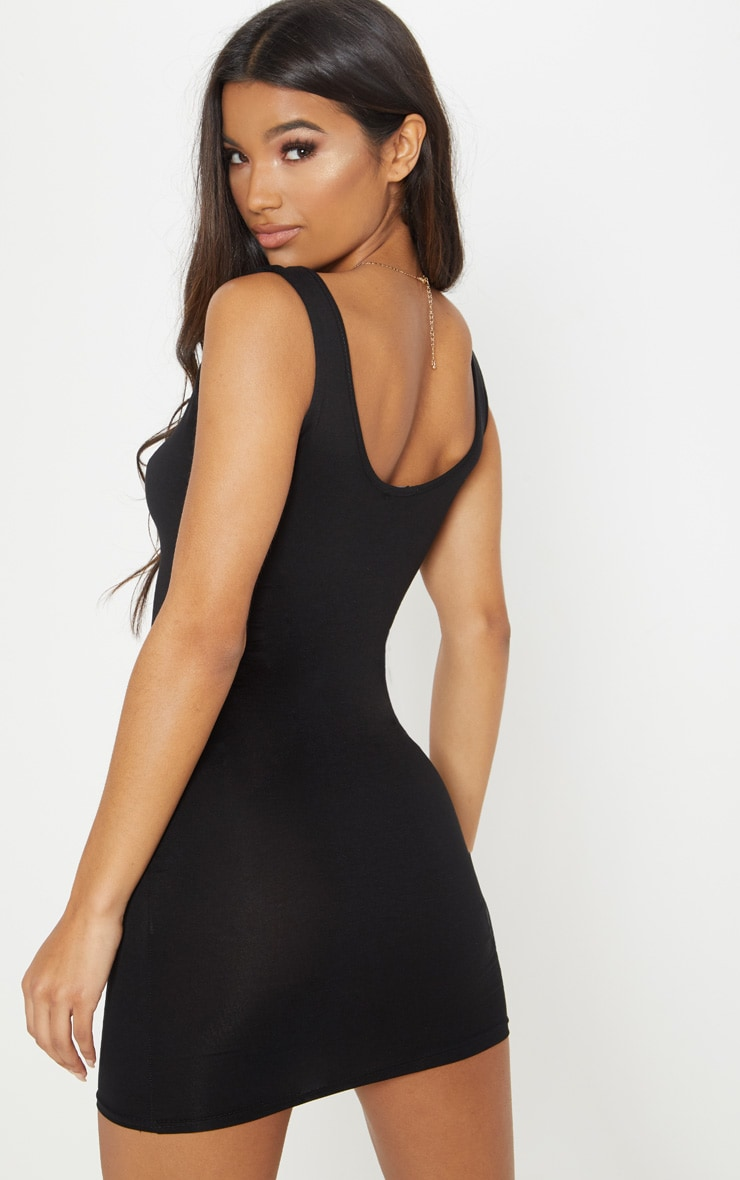 Basic Black Scoop Neck Bodycon Dress 2