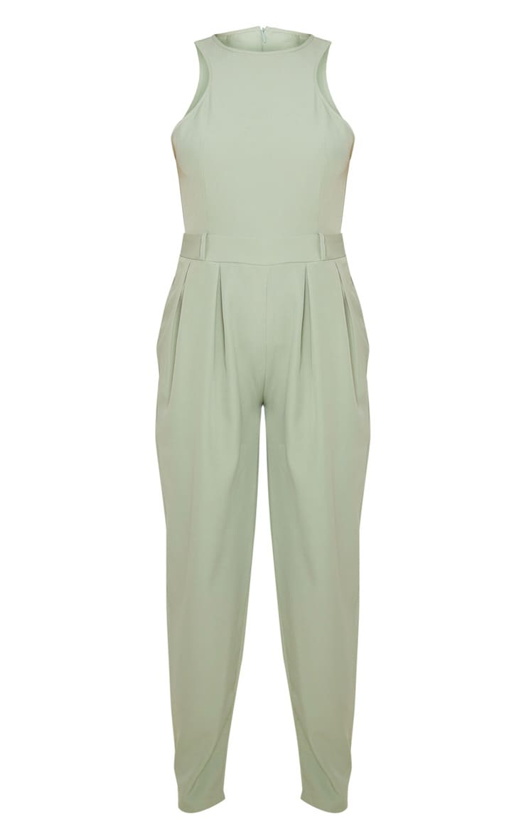 Sage Green Racer Back Pocket Detail Jumpsuit 3