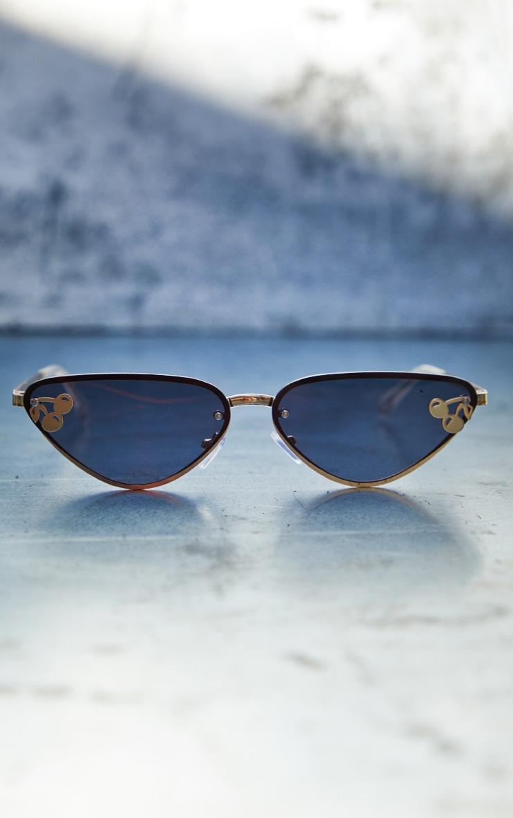 Black Cherry Motif Detail Triangular Sunglasses 1
