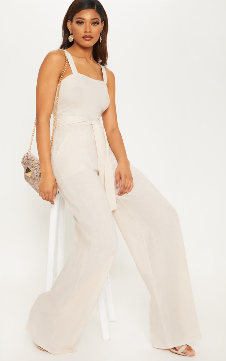 Tall Stone Woven Straight Neck Belted Jumpsuit 1