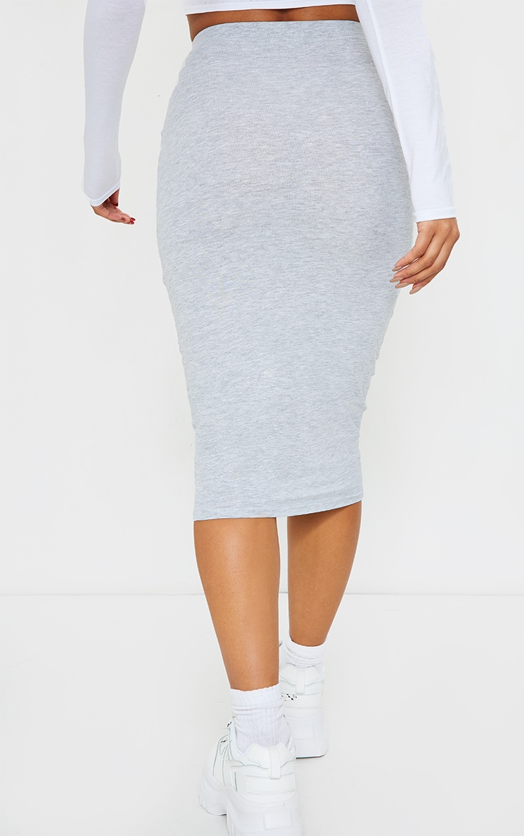 Grey Essential Jersey Midi Skirt  3