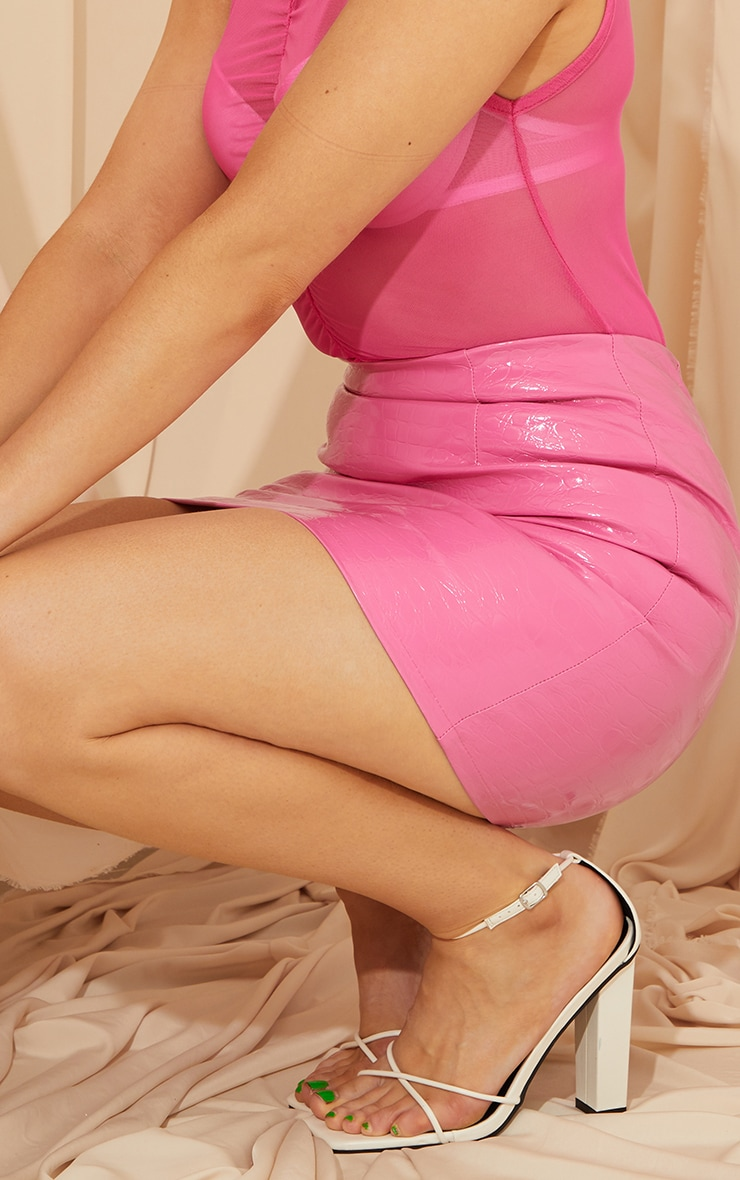 Pink Croc Vinyl Mini Skirt 3