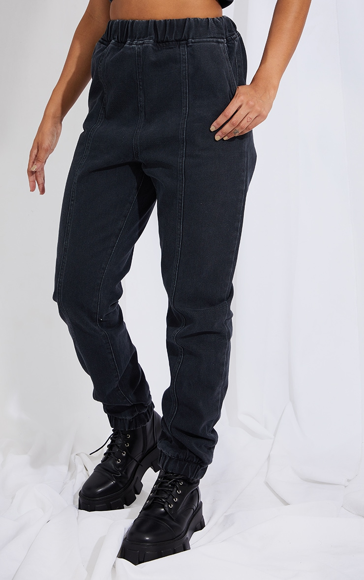 Washed Black Elasticated Waist Jogger Jean 2