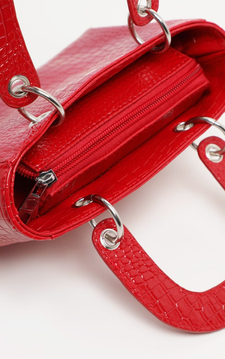 Red Patent Croc Ring Detail Mini Handbag 4