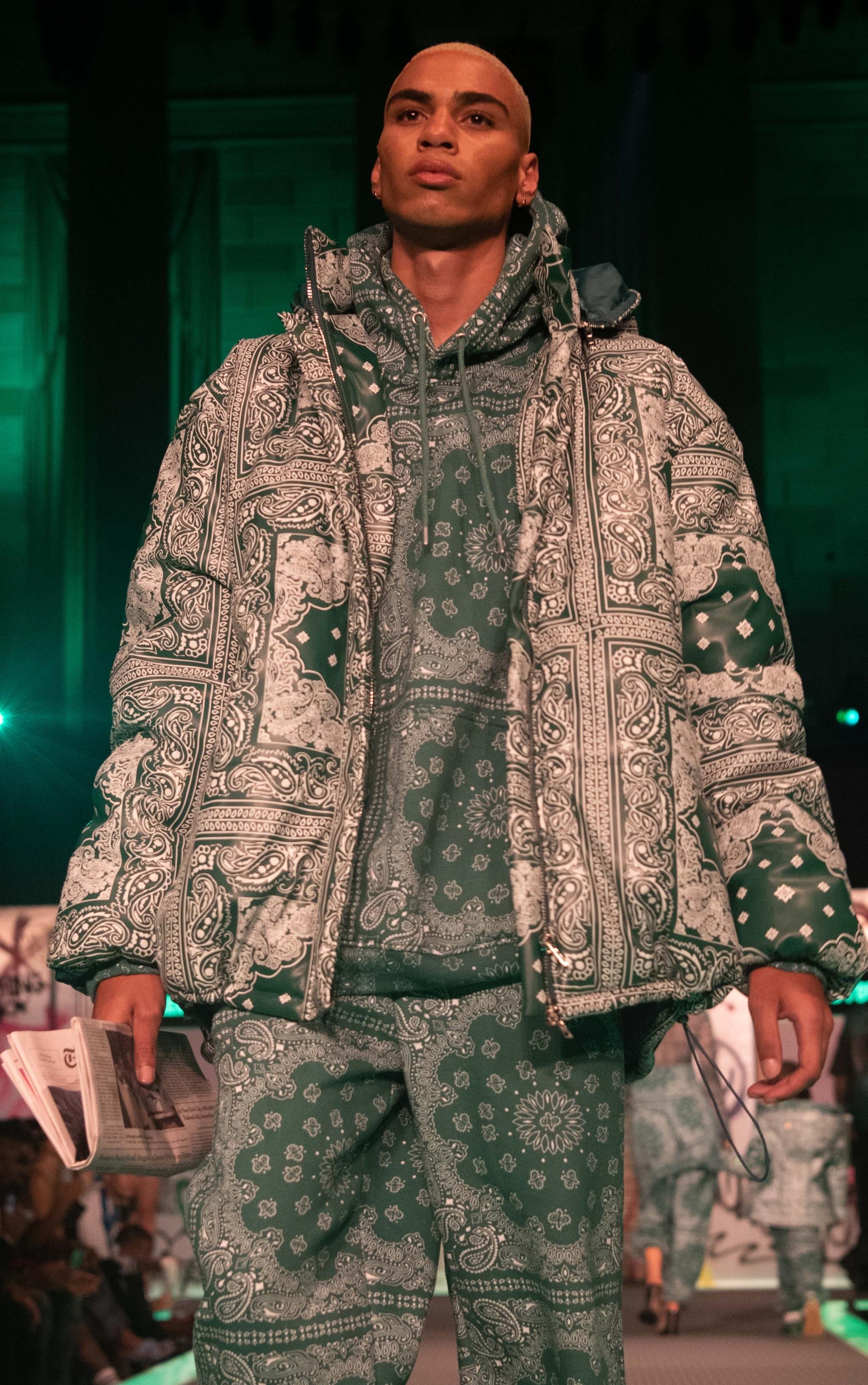 Green Unisex Paisley PU Extreme Oversized Puffer Coat 1
