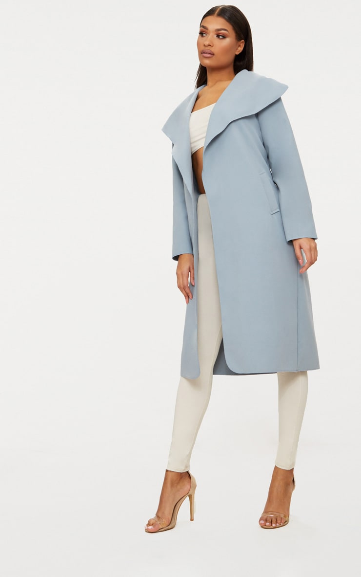 Veronica Powder Blue Oversized Waterfall Belt Coat 4