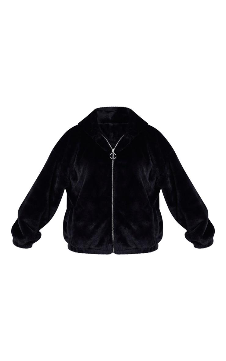 Black Faux Fur Balloon Sleeve Hooded Jacket 5