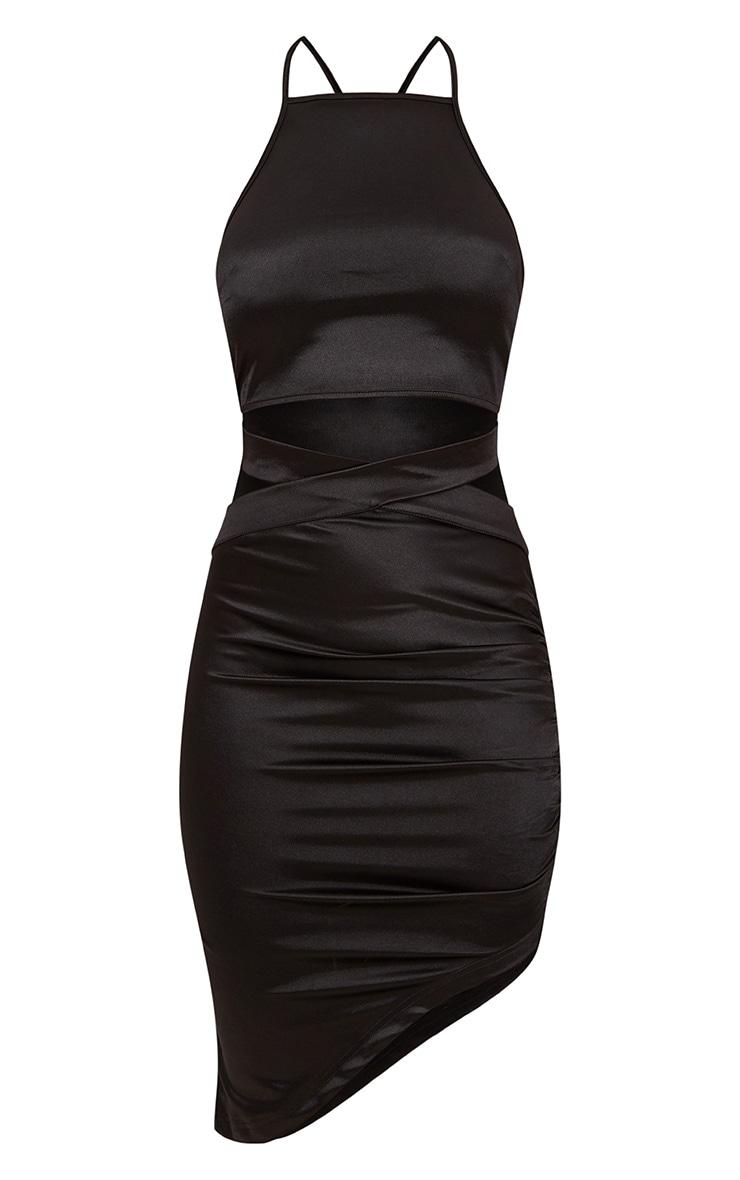 Black Satin Ruched Cut Out Detail Asymmetric Bodycon Dress 3