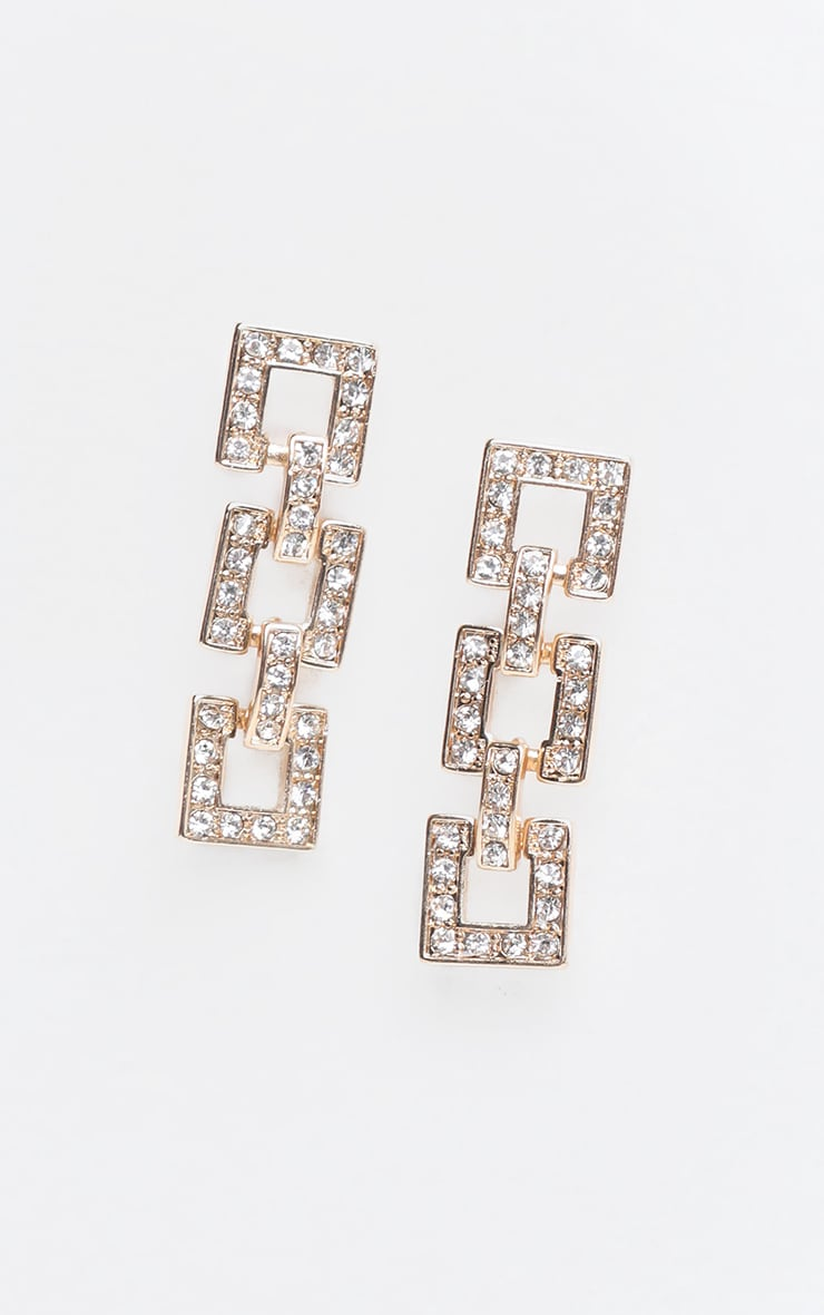 Gold Square Link Pave Drop Earring 2
