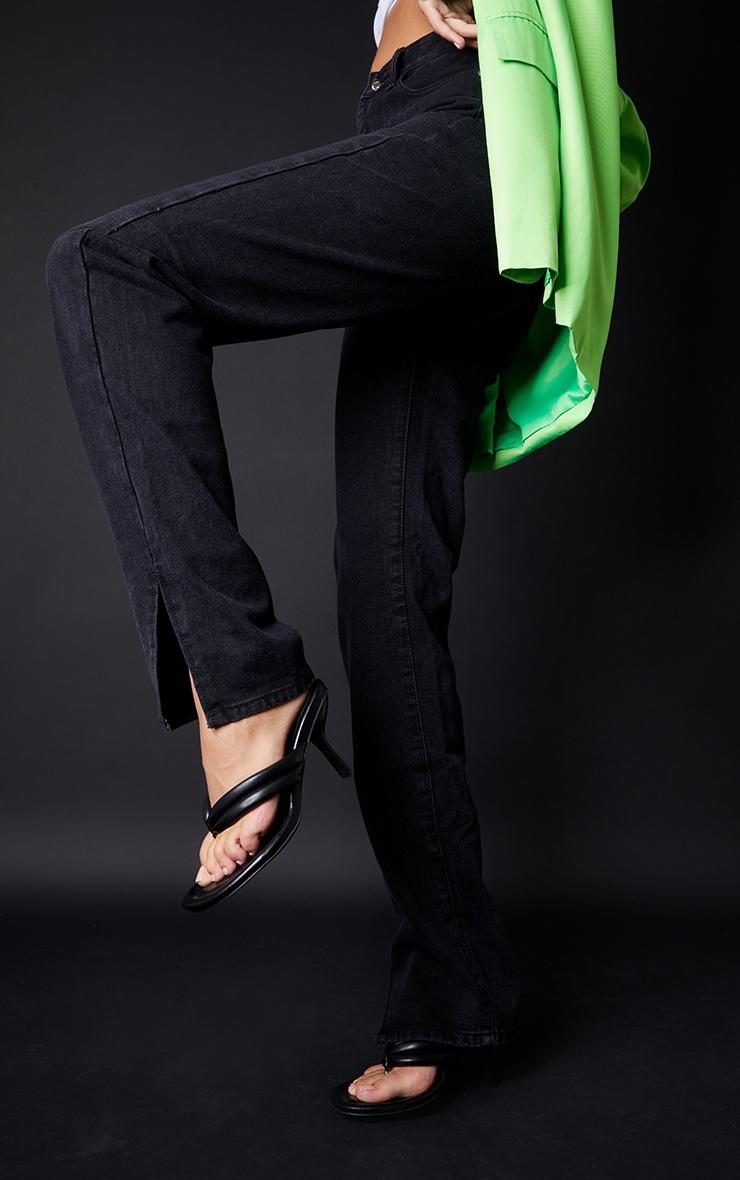Tall Washed Black Split Hem Jeans 4