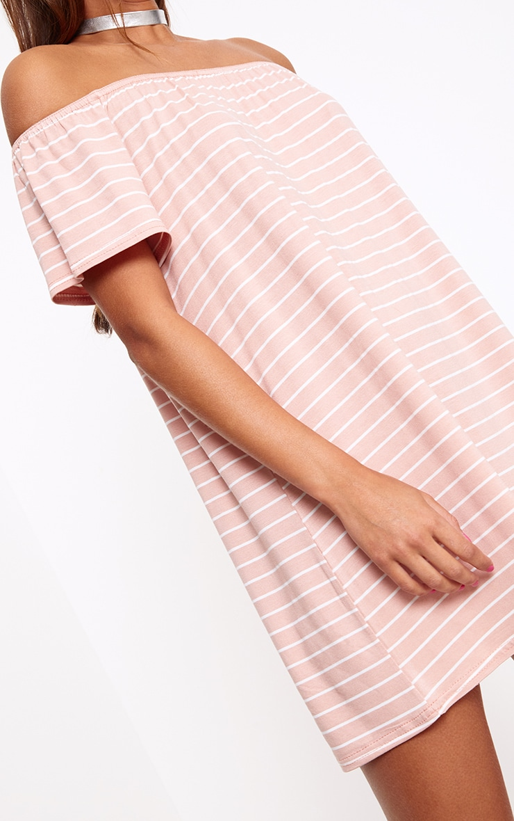 Pink Stripe Bardot Shift Dress 5