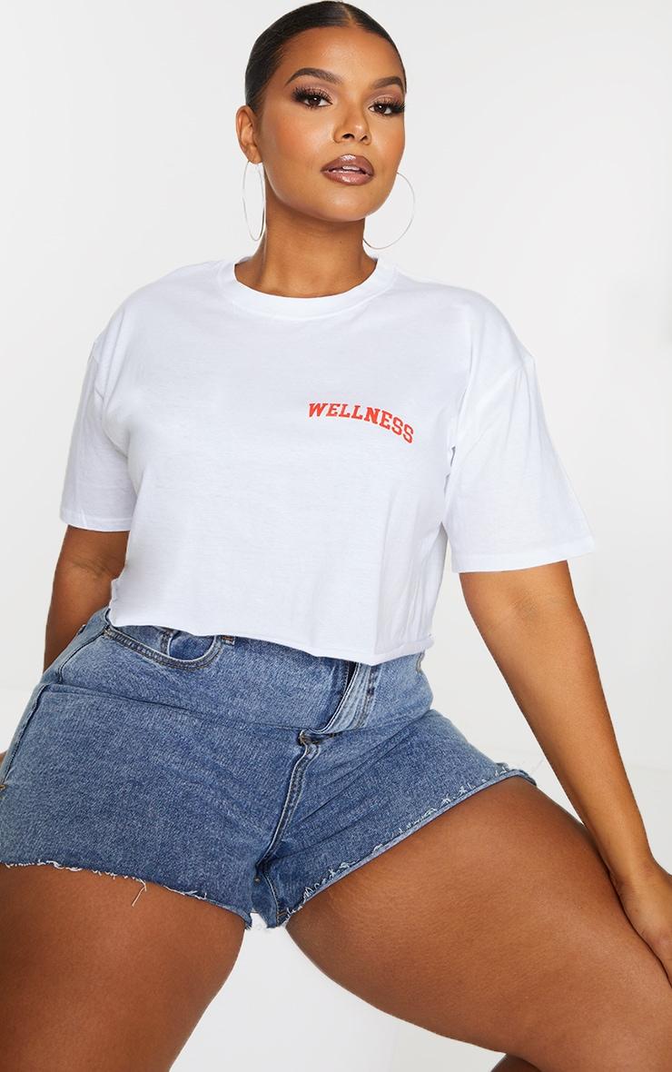 Plus Wellness White Cropped T Shirt 1