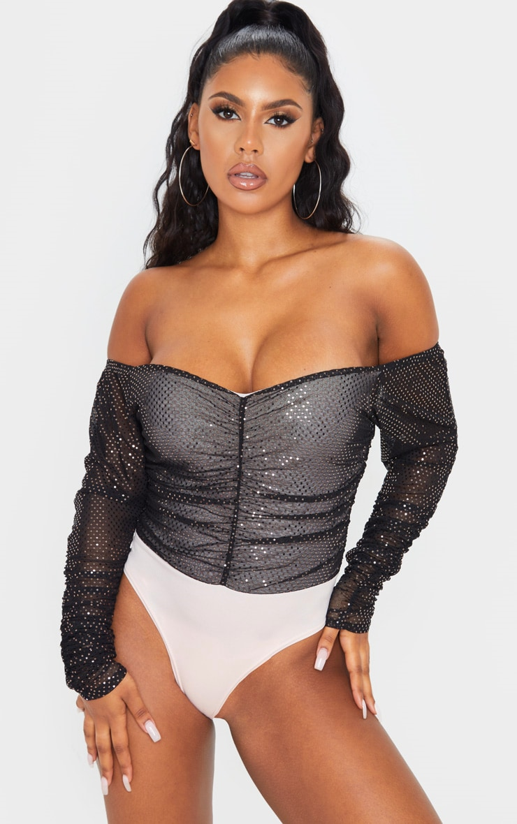 Pink Sequin Ruched Bardot Long Sleeve Bodysuit 2