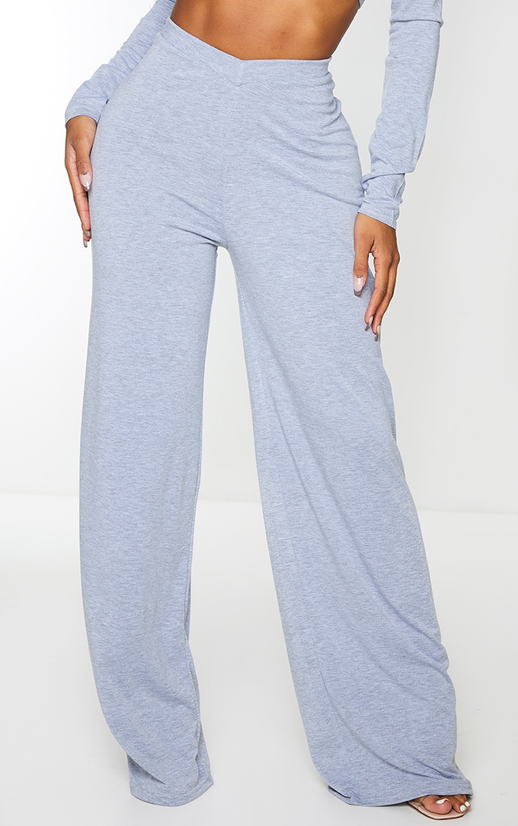 Shape Grey Jersey V Front Wide Leg Pants 3
