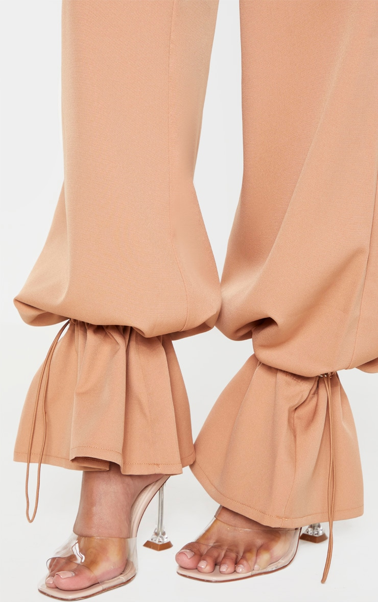 Camel Woven Toggle Cuffed Straight Leg Trouser 5