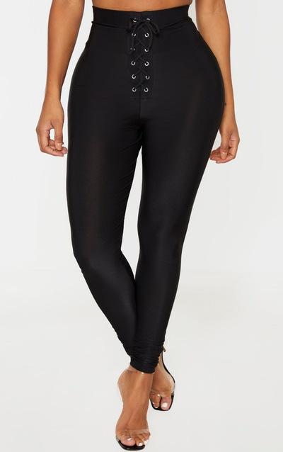 Shape Black Lace Up Disco Legging