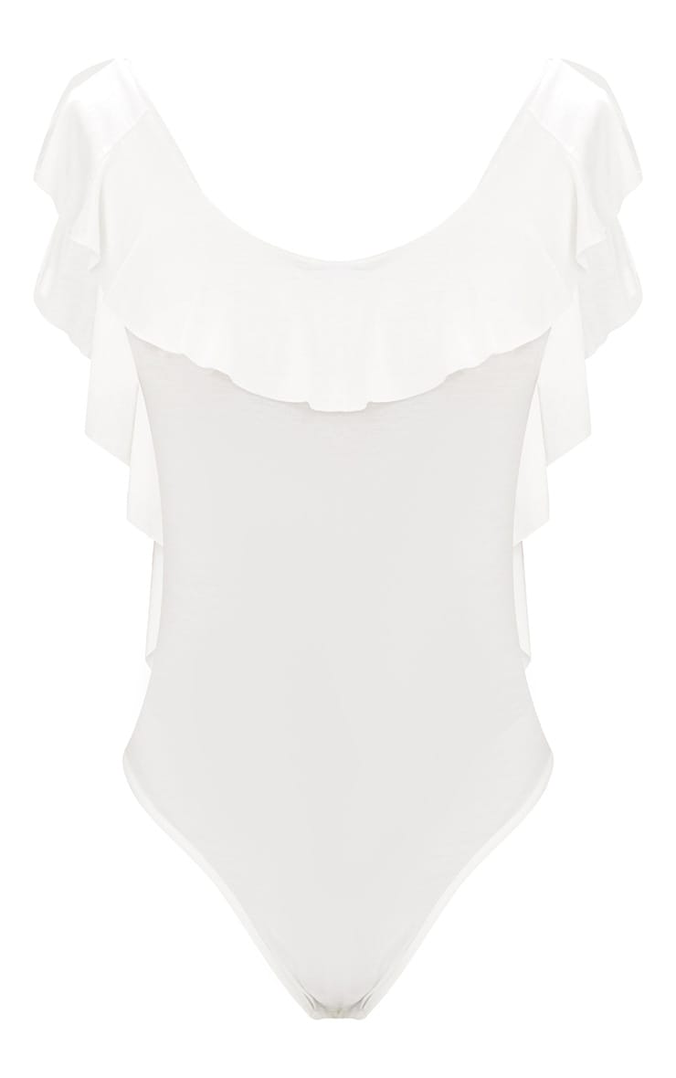 Cream Frill Drop Back Jersey Thong Bodysuit 3