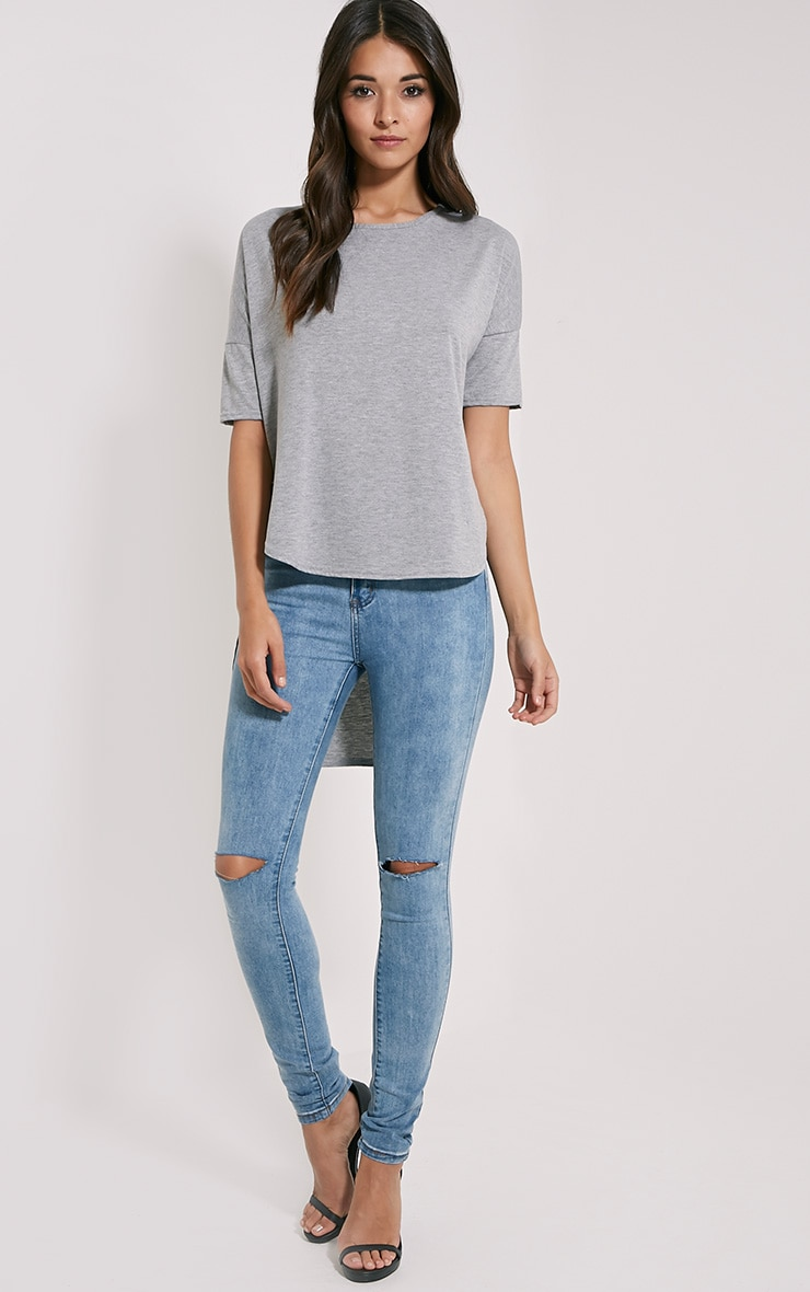 Basic Grey Dip Hem Loose T-Shirt 3
