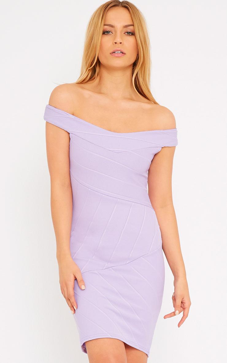 Alicia Lilac Bardot Bandage Dress 5
