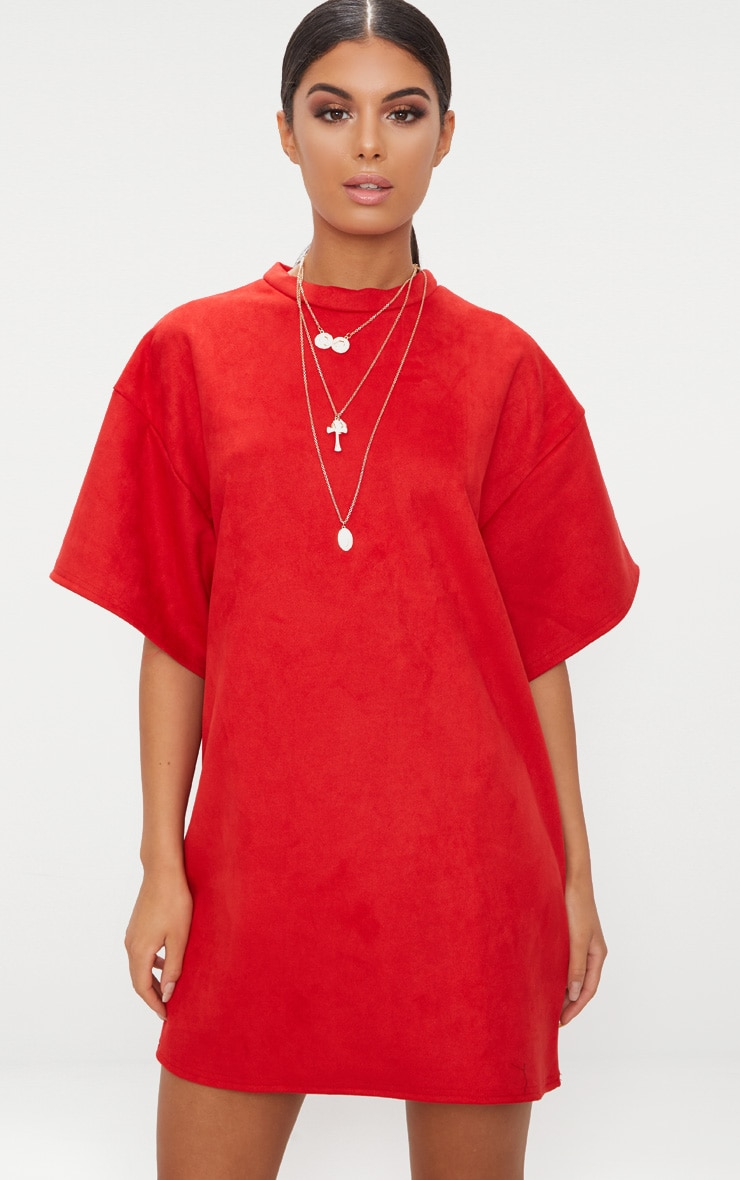 Red Faux Suede Oversized T Shirt Dress 1