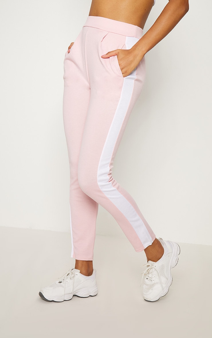Pink Ponte Contrast Side Stripe Trouser   2