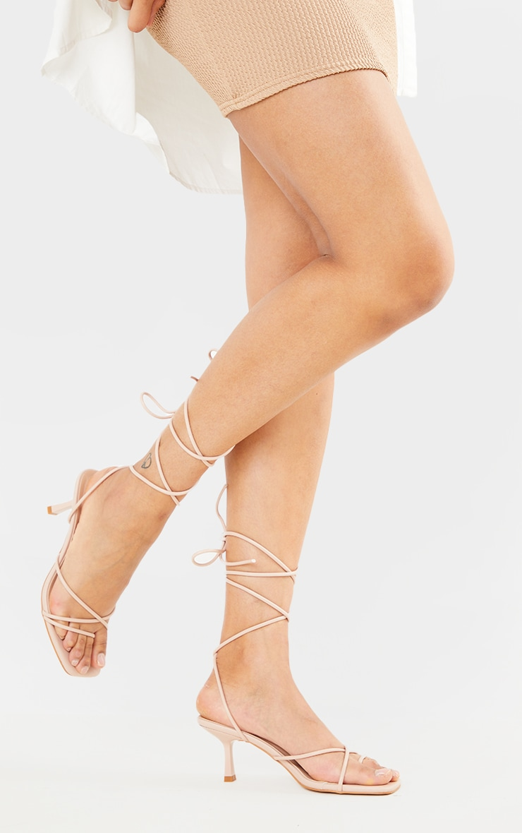 Blush Strappy Lace Up Low Heel Sandals 2