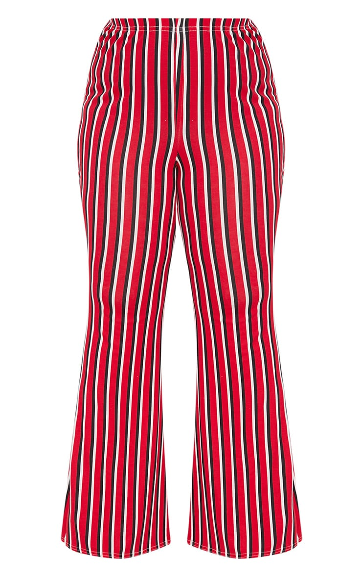 Plus Red Vertical Stripe Flared Trousers 3