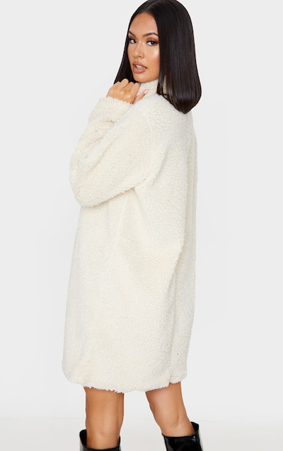 Cream Borg High Neck Oversized Jumper Dress