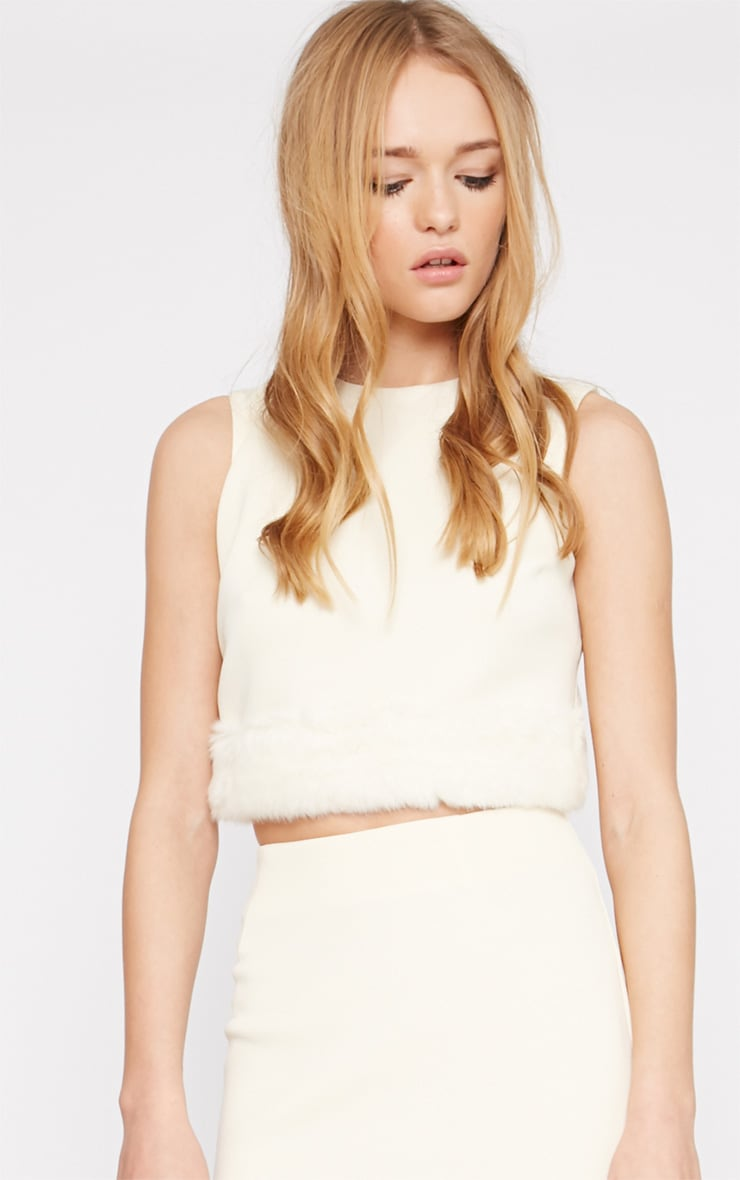 Rosella Cream Fur Trim Crop Top   3